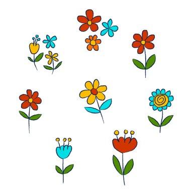 "Картина, постер, плакат, фотообои ""vector set of doodle flowers"", артикул 113799522"