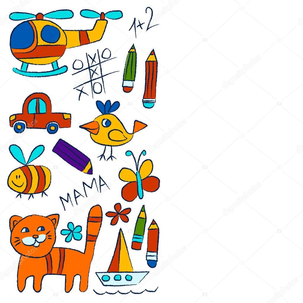 Jardín de infantes doodle fotos en fondo blanco — Archivo Imágenes ...
