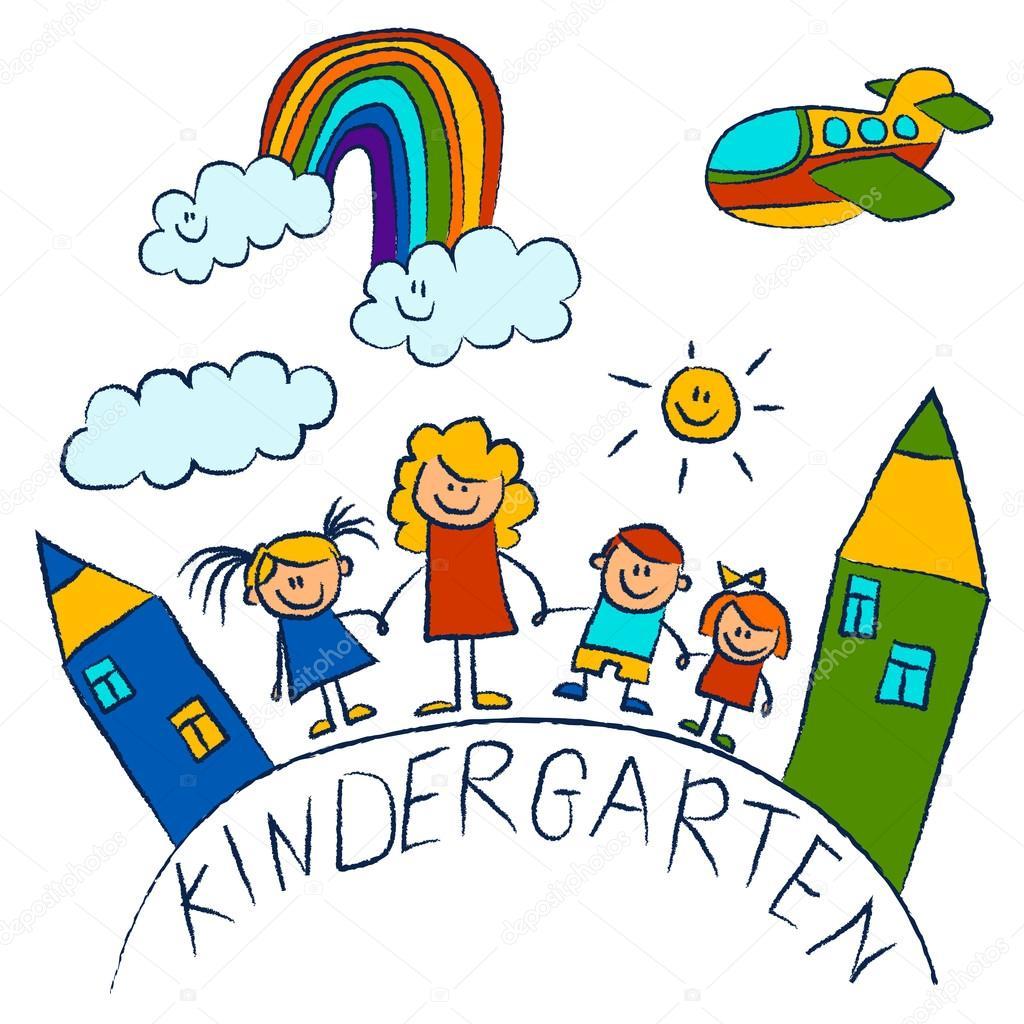 Jard n de infantes doodle fotos en fondo blanco archivo for Carpetas para jardin de infantes