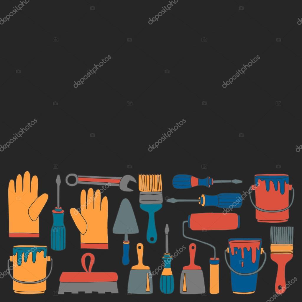 Reparatur Und Renovierung Werkzeuge Hand Gezeichnet Vektor Icons U2014  Stockvektor