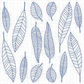 Insieme con piante tropicali di doodle di vettore