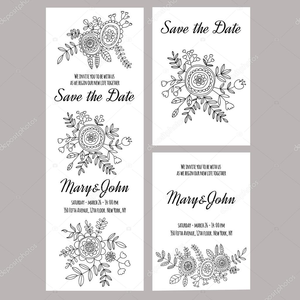 Wedding invitation vector template White background — Stock Vector ...