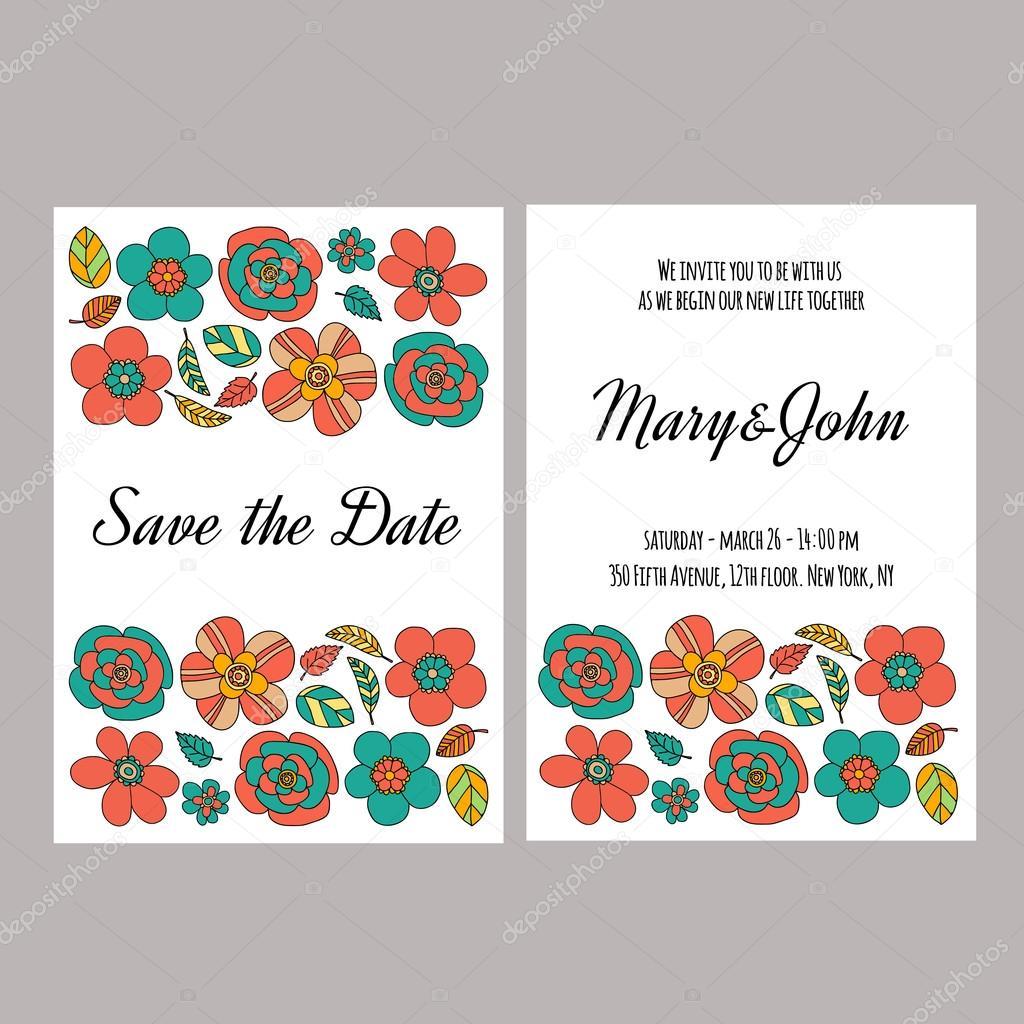 Vector invitation for wedding, summer, spring sale — Stock Vector ...