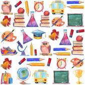 Akvarel ikony školy a vzdělání