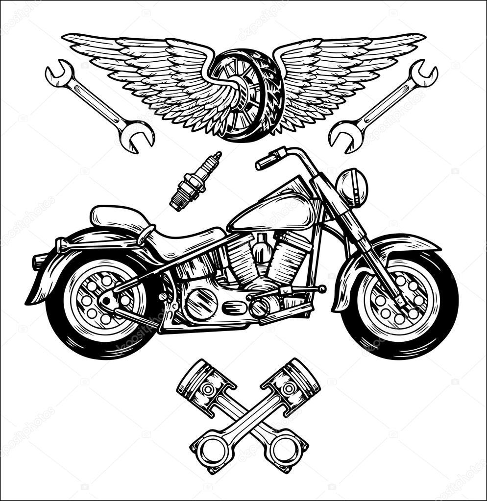 motociclista vector conjunto m u00e3o desenhada elementos