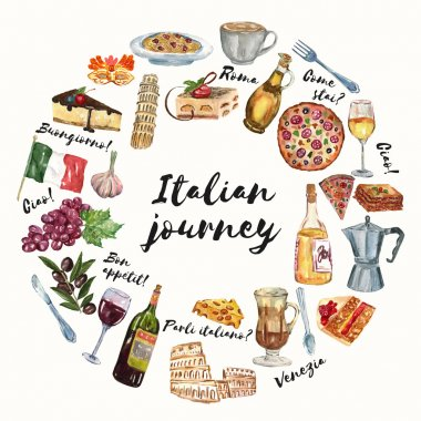 Italian journey Cuisine, food, culture, language Hello How are you Good morning Hand drawn watercolor set