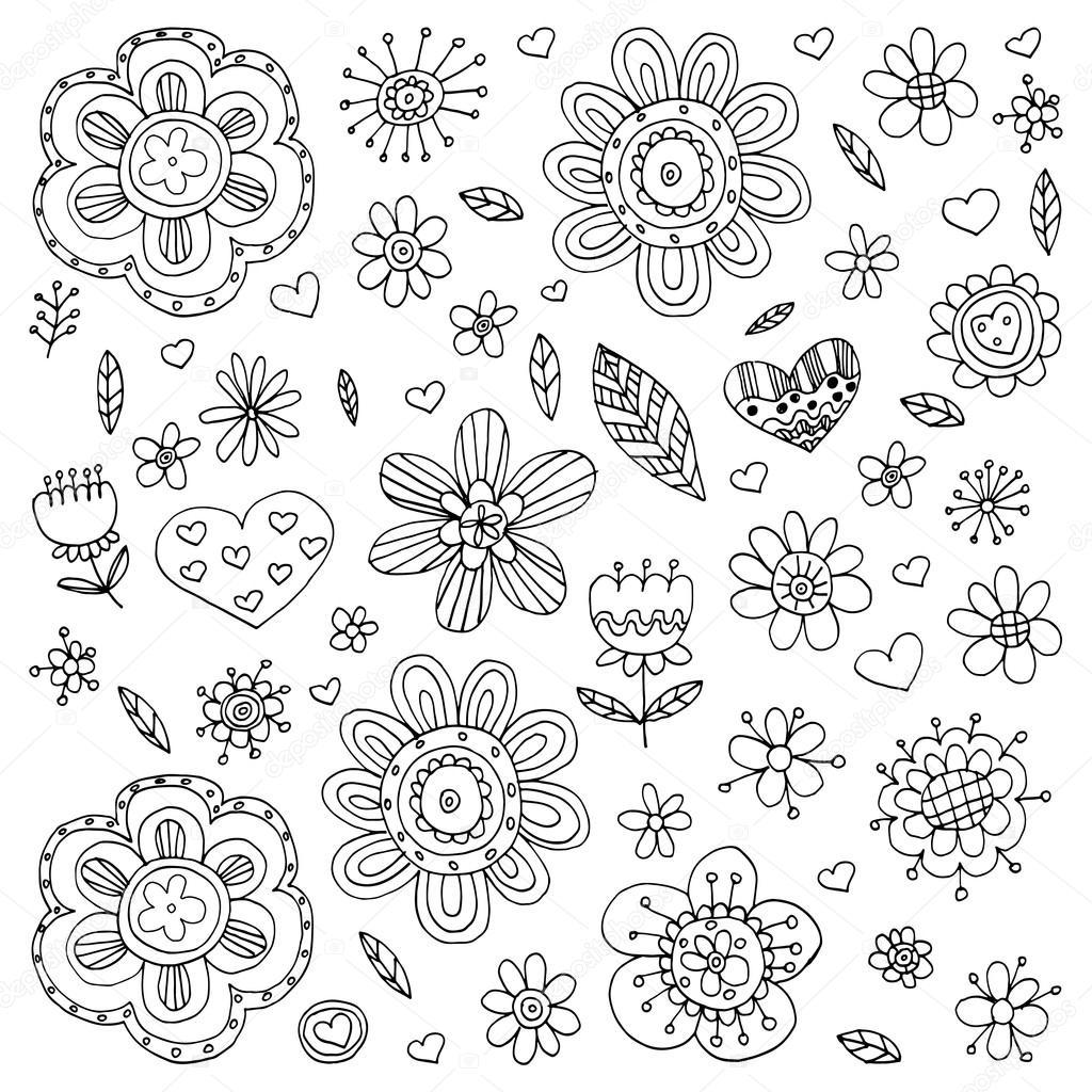 Patron De Vector Con Flores Doodle Y Zentangle Archivo Imagenes