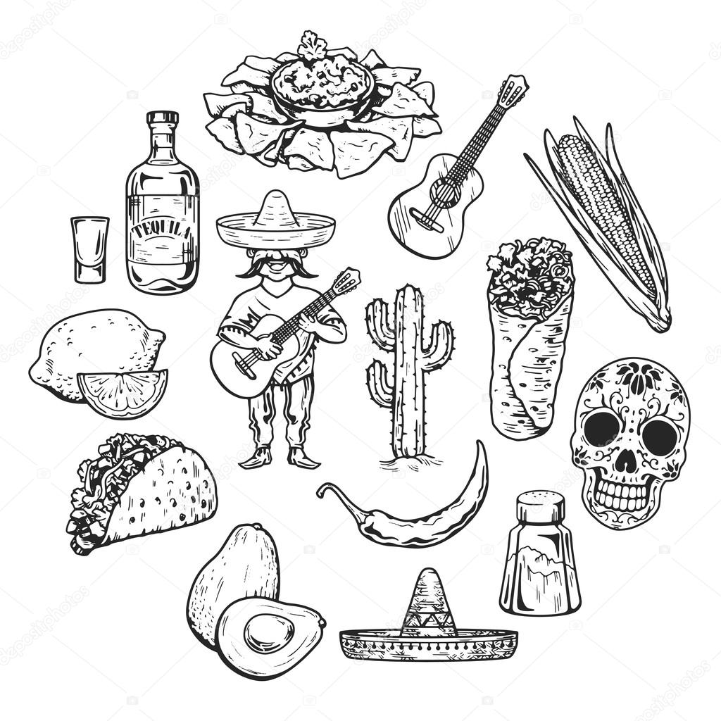 travel to mexico food culture drink cuisine hand draw vector icons