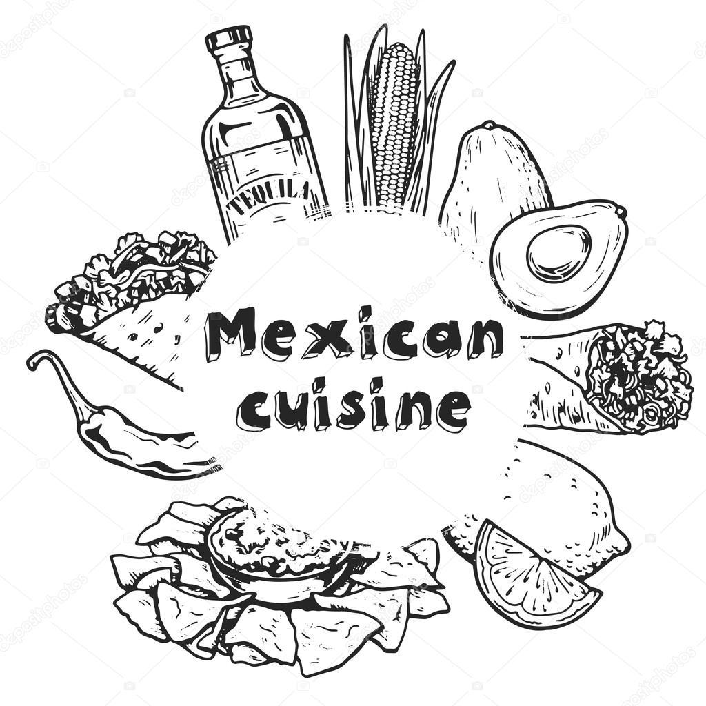 Reisen Sie Nach Mexiko Essen Kultur Trinken Kuche Hand Zeichnen
