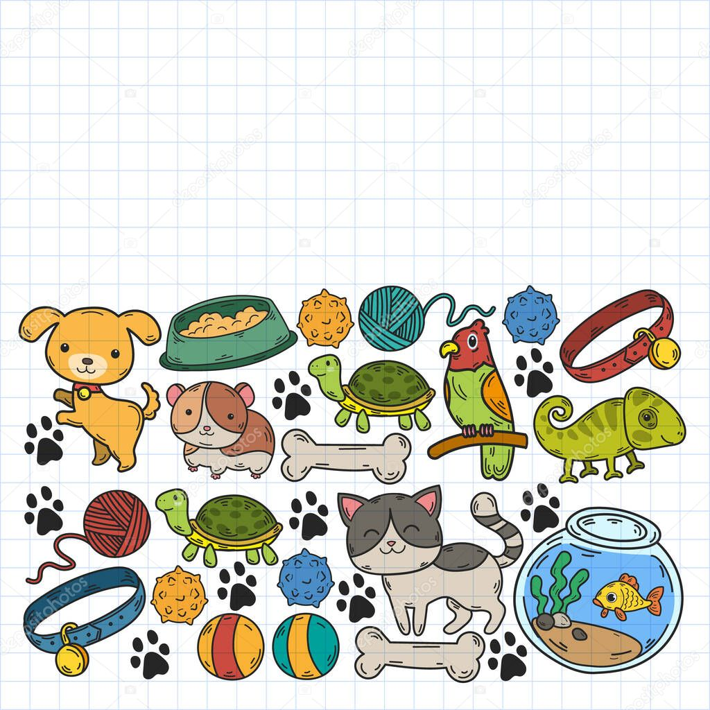 Cats, dogs, fish, parrot. Toys for animals, animal care Veterinary clinic zoo pet shop icon