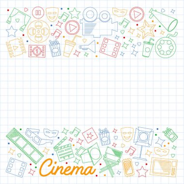 Cinema, video. Megaphone camera movie Musical theathre entertaiment icon
