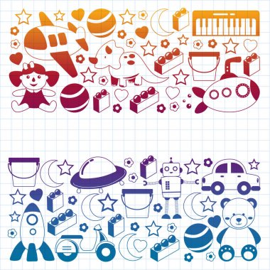 Illustration of the collection of toys on a white background icon