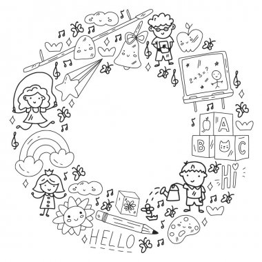 Vector pattern. School and online education. Little boys and girls play and grow. icon
