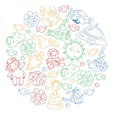 Kindergarten, toys vector pattern. Little children creativity and imagination. icon