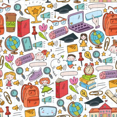 Online internet education. Back to school vector pattern. icon