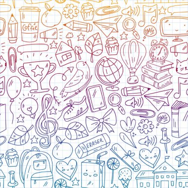 Vector illustration. Back to school seamless vector pattern. Textile fabric design, wrapping paper. icon