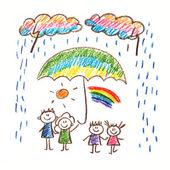 Social protection. Happy family.