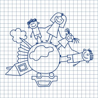 Vector image. Happy family. Kids drawing