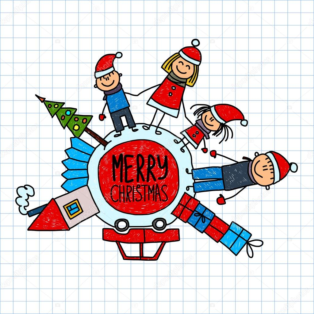Merry christmas and happy new year. Kids drawing.