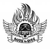 Biker Totenkopf mit Flügeln und Flamme