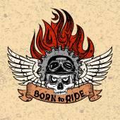 Vintage Biker Totenkopf mit Flügeln und Flamme