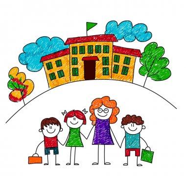 Vector image of happy children with teacher.