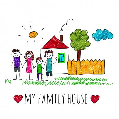 Vector image My family house