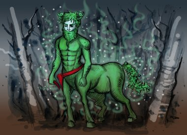 Watercolor illustration of slavic mythology creature