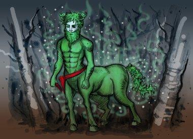 Watercolor illustration of slavic mythology creature