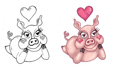 Illustration of Cute Female Pig in Love