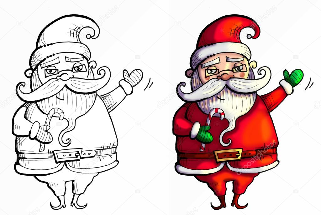 Père Noël Saluant Les Enfants Avec Sa Main Vers Le Haut