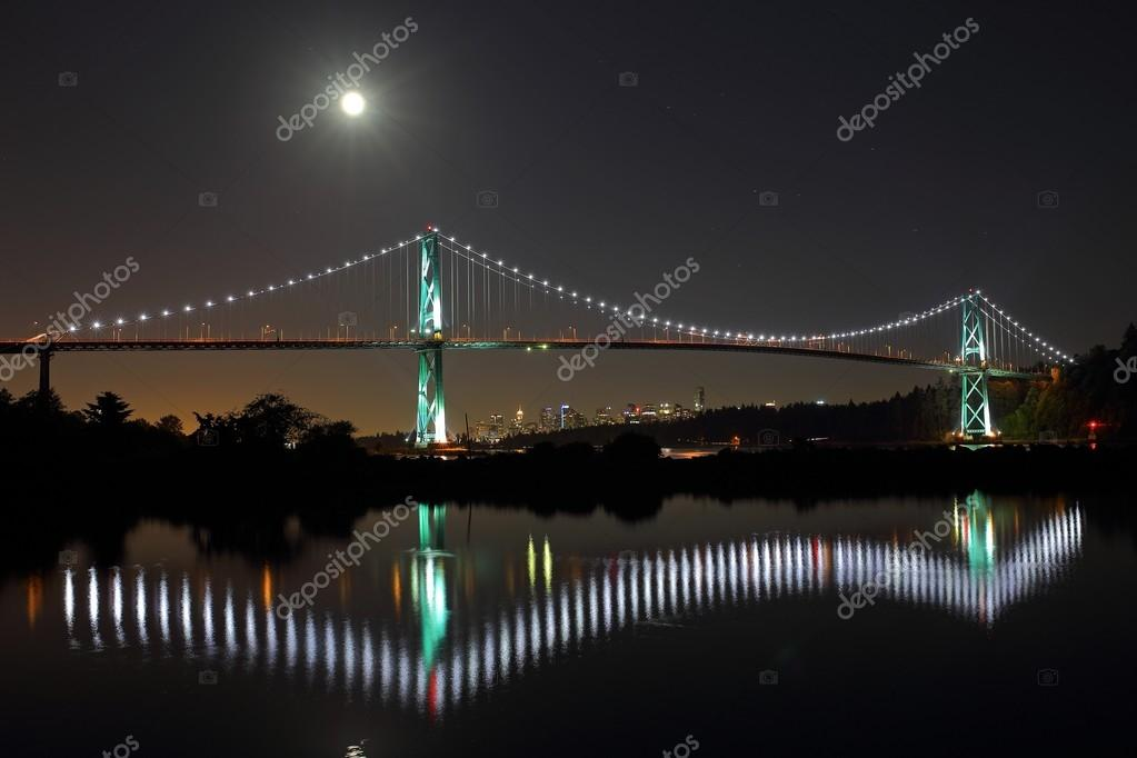 Lions Gate Bridge in a full moon. Vancouver, Canada