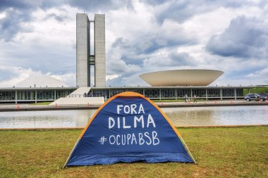Protester's Tent in Front of National Congress Building in Brasilia, Brazil