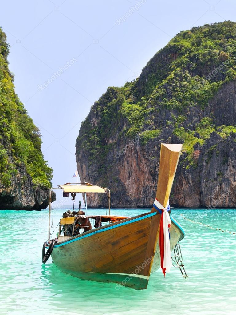 Long Tail Boat in Maya Bay, Ko Phi Phi, Thailand