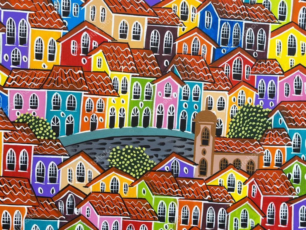Malerei von Häusern bunte Pelourinho in Salvador, Bahia ...