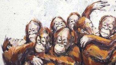 Orangutans in a Wheelbarrel Street Art Mural in Kuching, Malaysia