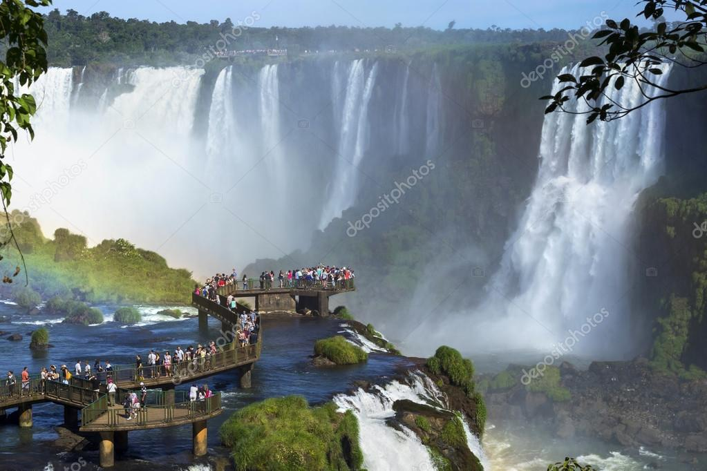 Tourists at Iguazu Falls, Foz do Iguacu, Brazil