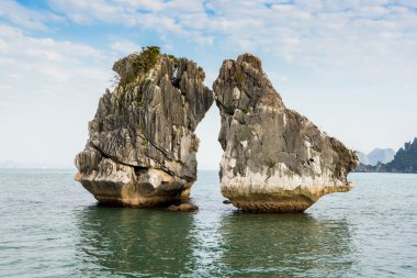 The Kissing Rocks in Halong Bay, North Vietnam.