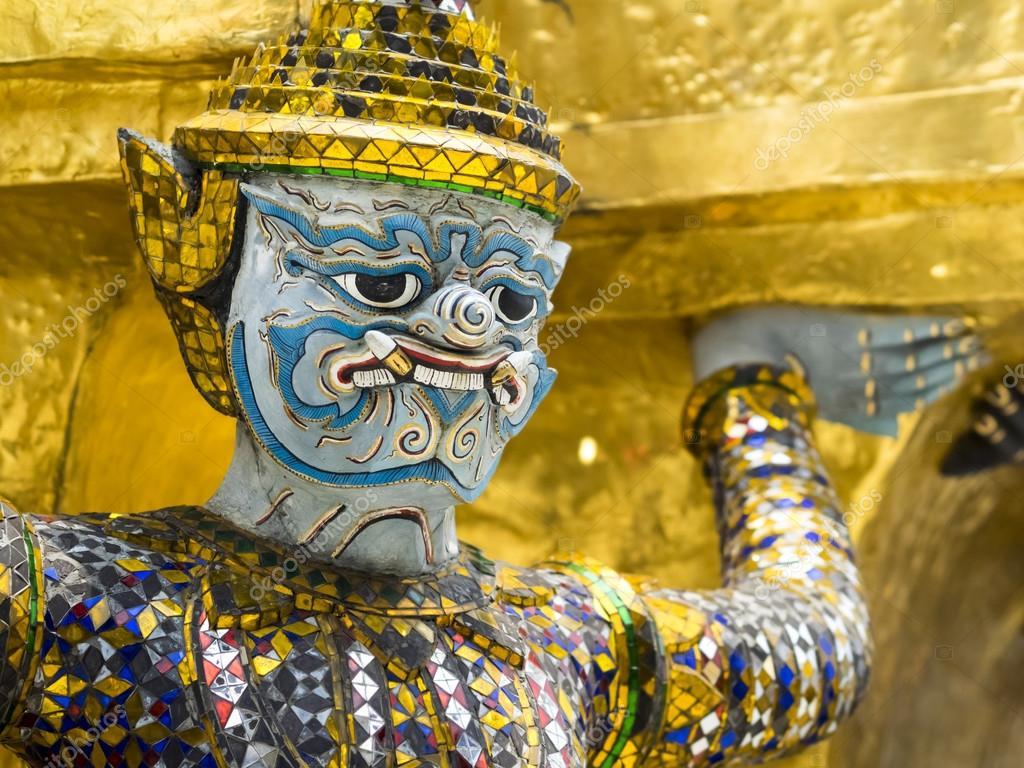 Close Up of Guardian Demon at Grand Palace in Bangkok