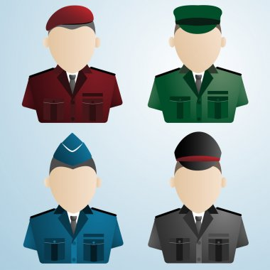 cartoon police soldier military : uniforms vector illustration
