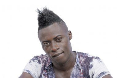 Sculptural face and Mohawk hairstyle