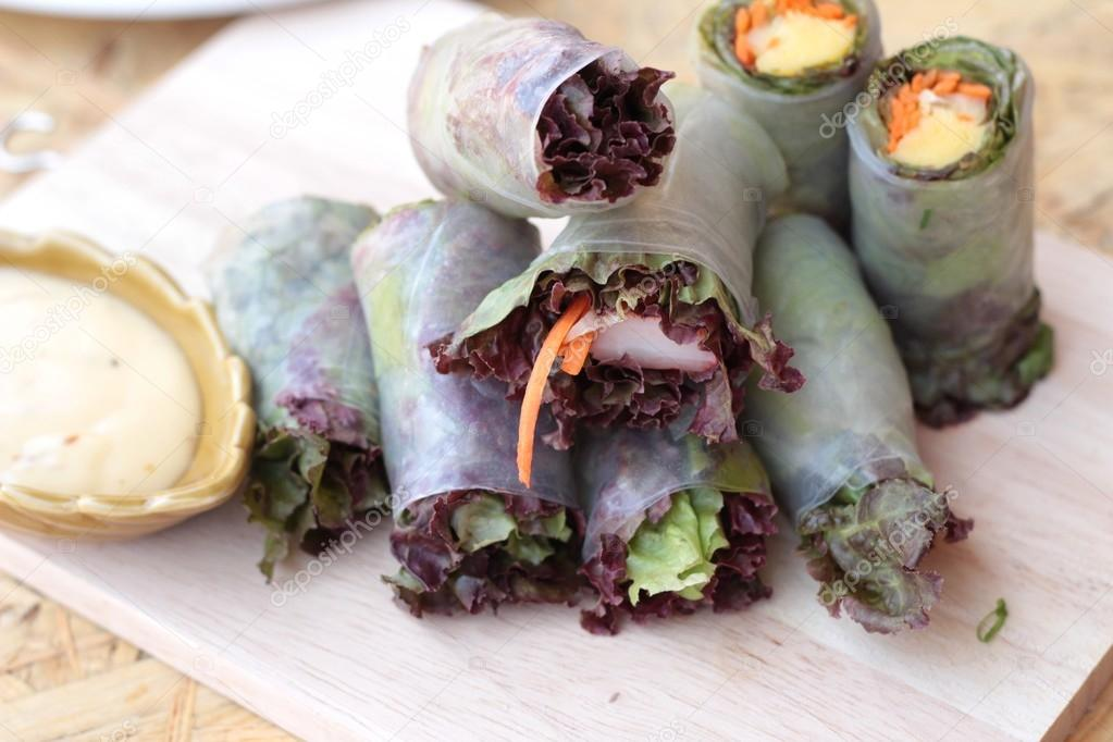 Vegetable salad wrapped into spring rolls delicious