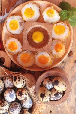 Quail eggs and fried quail eggs of delicious.