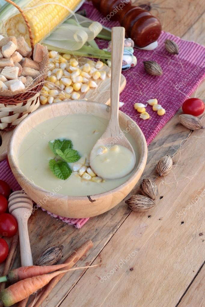 Corn soup of delicious and fresh corn .