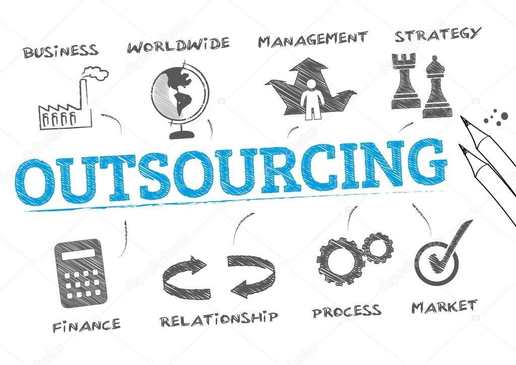 outsourcing concept illustrationen stock vector trueffelpix