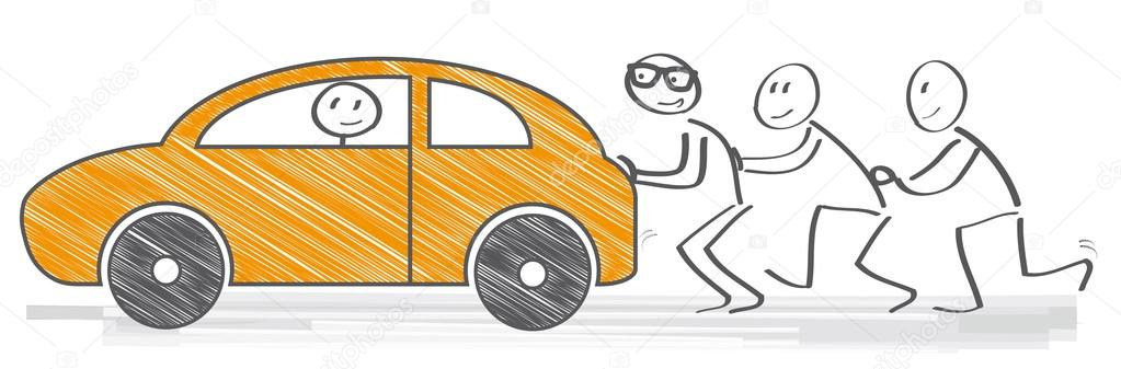 pushing car vector illustration stock vector trueffelpix