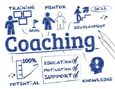 Coaching concept. Chart with keywords and icons stock vector