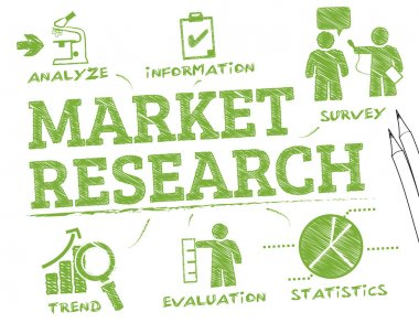 Market Research. Chart with keywords and icons stock vector