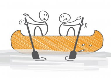 Two People in Canoe Paddling in Opposite Directions - vector illustration stock vector