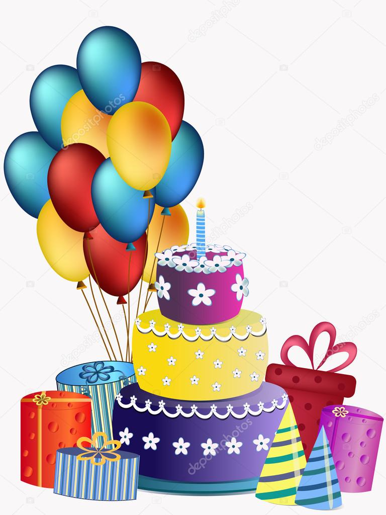 Happy Birthday Cake Balloons And Presents Stock Vector